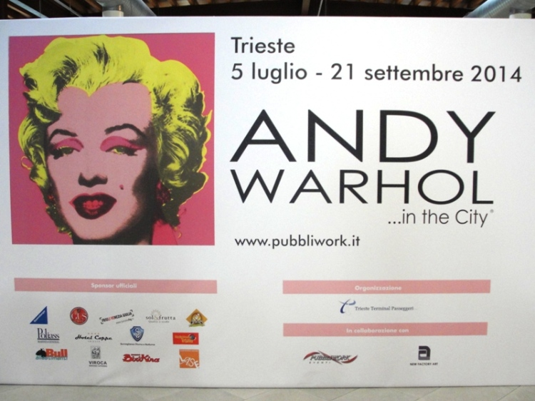 Afiche de la exposición de Andy Warhol que tuvo lugar en la ciudad de Trieste