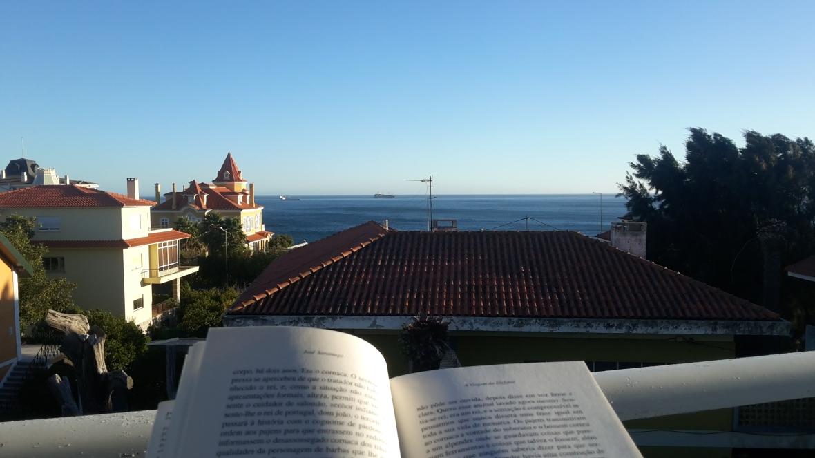 Frente al Atlántico, leyendo A Viagem do Elefante,